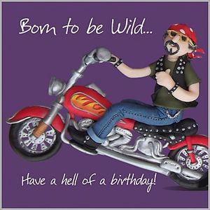 Mens Boys Fun Birthday Card, Harley Davidson Style Motorbike Born to ...