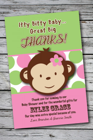 baby shower thank you quotes monkey kootation funny