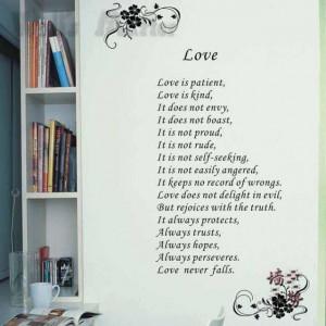 Wall stickers decor 85*160CM romantic beautiful quote wedding sticker ...