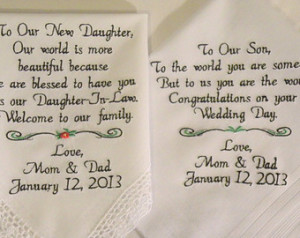 Gifts Embroidered Wedding Hankercheifs for Daughter In-Law and Son ...