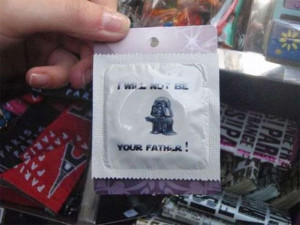 Funny little condom packaging, exclaiming 'I will not be your father ...