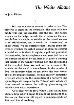 didion white album essay Essays and criticism on joan didion's the white album - critical essays.