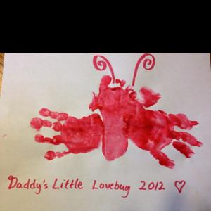 Daddy's Little Lovebug Handprint Valentine Valentine Crafts, Baby'S ...