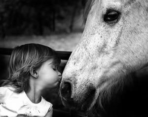 black and white, cute, girl, horse, kiss, love