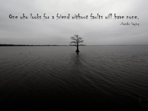 ... who looks for a friend without faults will have none. Hasidic Saying