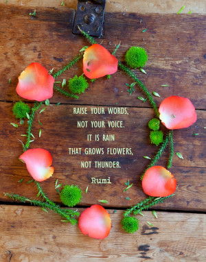 Rumi quote - Raise your words, not your voice...