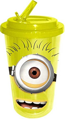 ... Me Happy One Eye Minion 16 ounce Cold Cup Flip Up Straw Water Bottle