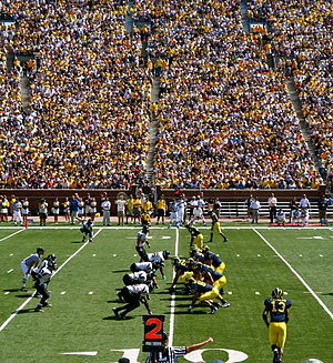 Michigan and Appalachian State line up for a play. Michigan, the ...