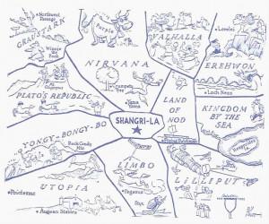 Eine Karte mit den sagenhaften Garten der Hesperiden (aber auch Platon ...