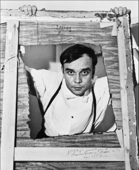 Yves Klein with a 1955 perforated monochrome 1957 Image courtesy