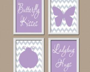 Butterfly Kisses Wall Art Nursery Artwork Girl Child Lavender Gray ...
