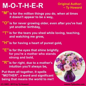 ... Howard's Mother's Day Quote, Ty Howard's Mother's Day Poem, Quotes for