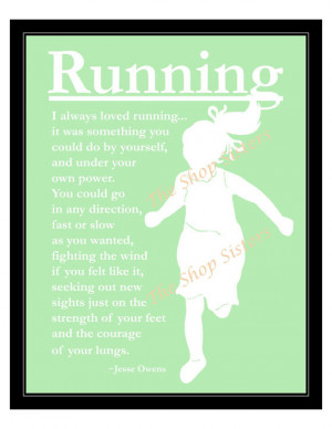 Track Running Girl Olympics Silhouette Green and White 8 x 10 Print ...