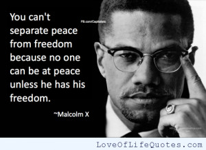 Malcolm X quote on peace and freedom