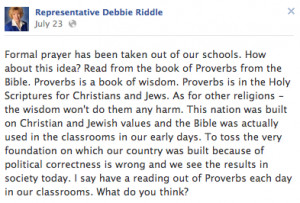... things would be better if we just read Bible verses in the classroom