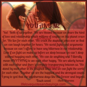 you and me yes both of us together we are blessed because we share the ...