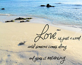 love is just a word quote beach photo love inspira