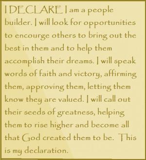 Joel Osteen I Declare Quotes I declare i am a people