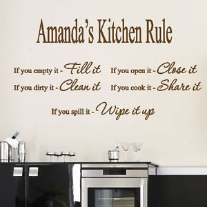 ... Personalized Name Kitchen Rule Art Wall Quotes / Wall Stickers/ Wall