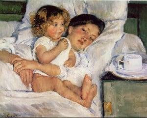 Mary Cassatt Paintings - Mary Cassatt Breakfast in Bed Painting