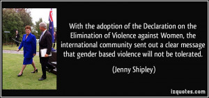 With the adoption of the Declaration on the Elimination of Violence ...