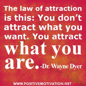 The law of attraction is this: You don't attract what you want. You ...