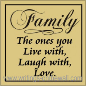 Home / Family Quotes / Family – the ones you Live with, Laugh with ...