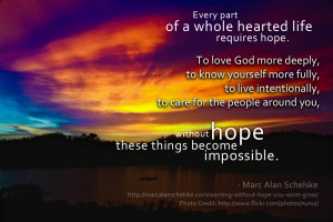 Quote: Every Part of Life Requires Hope