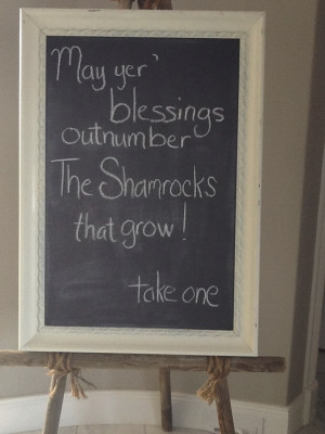 Entry black board by derby with Irish sayings