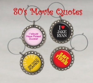80s Movies Set of FOUR Drink Wine Charms