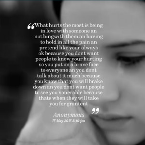 Quotes Picture: what hurts the most is being in love with someone an ...