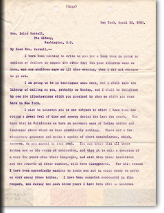 Franz Boas, Letter to Z. Nuttall, New York, 11 April 1901