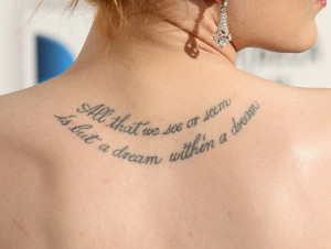 Cool Quote Upper Back Tattoo Design for Women