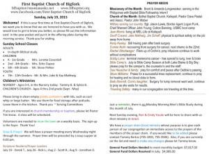 Baptist Church Bulletin Ideas