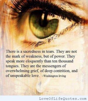 Washington Irving quote on Sacred Tears