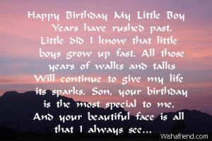 Happy Birthday To My Son Poems Happy birthday my little boy