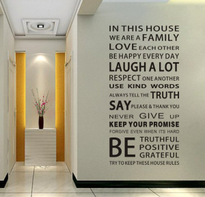 Family House Rules Modren Romantic Word Quote Wall Decal Sticker Wall