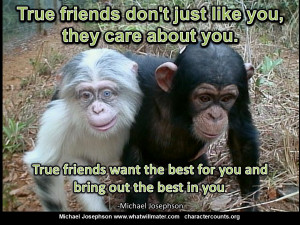 ... friends POSTER QUOTE True friends dont just like you they care about