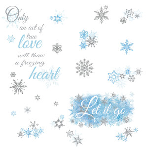 Frozen Let it Go Quote Wall Stickers with Glitter