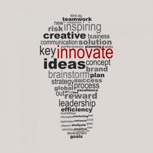Affiche des mots en forme de l'innovation des entreprises de l'ampoule