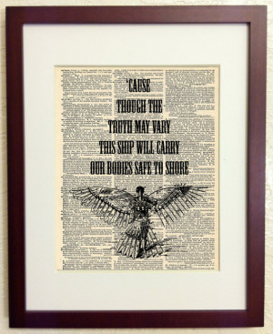 Of Monsters and Men Quote - Art Print on Vintage Antique Dictionary ...