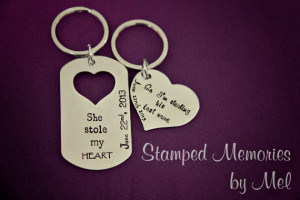 She stole my HEART... So I'm stealing his last name - Hand Stamped ...