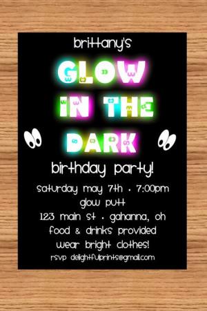 listing 73305375 glow in the dark birthday invitation diy ref amp sref
