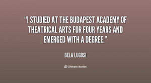 studied at the Budapest Academy of Theatrical Arts for four years ...