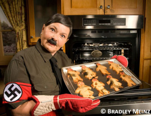 Roseanne Barr, while dressed as Adolf Hitler for Heeb magazine