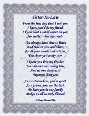 poems for sister in law