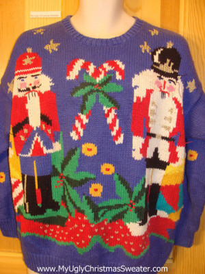 Funny Ugly Christmas Sweater 80s 2sided Nutcracker