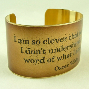 Oscar Wilde English Literature Quote Jewelry - I am so clever - Brass ...