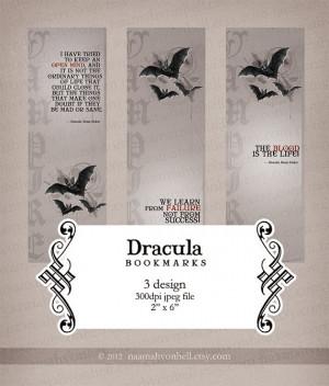 Dracula Bram Stoker Quotes Three Design Bookmarks Printable Digital ...