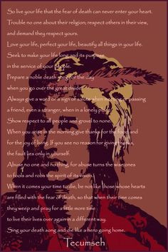 Tecumseh's poem from Act of Valor... great movie. More